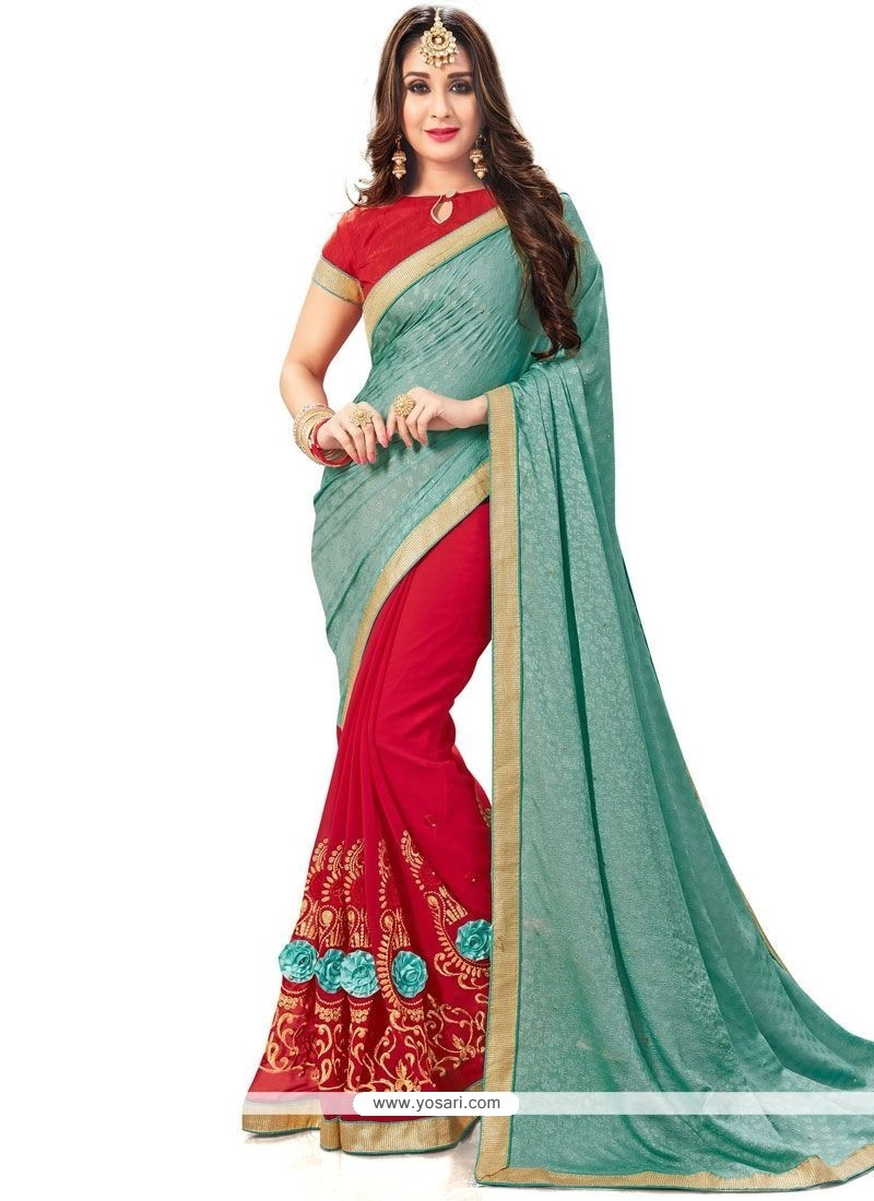 Orphic Fancy Fabric Red And Turquoise Half N Half Designer Saree