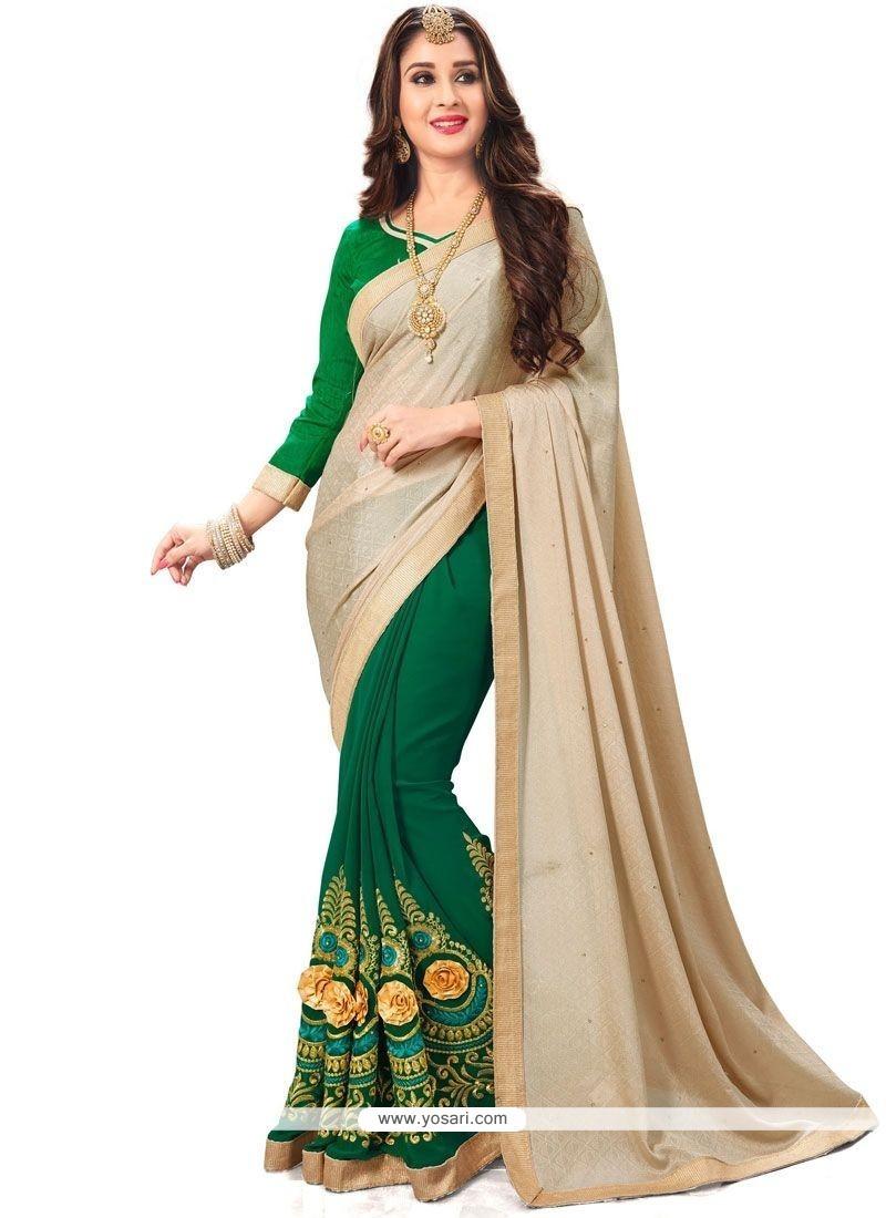 Distinctively Fancy Fabric Beige And Green Embroidered Work Designer Half N Half Saree