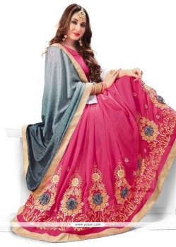 Enthralling Faux Georgette Patch Border Work Half N Half Trendy Saree