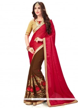 Embroidered Fancy Fabric Half N Half Saree In Brown And Red