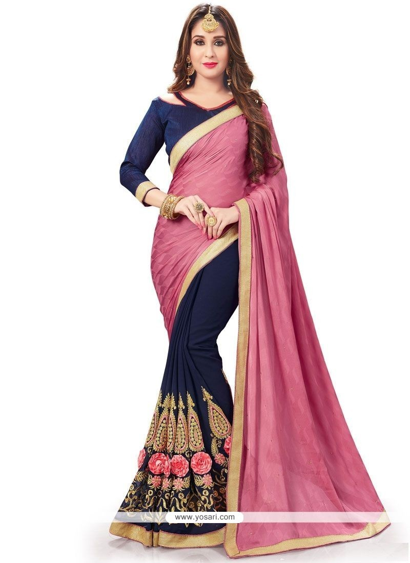 Affectionate Patch Border Work Faux Georgette Designer Half N Half Saree