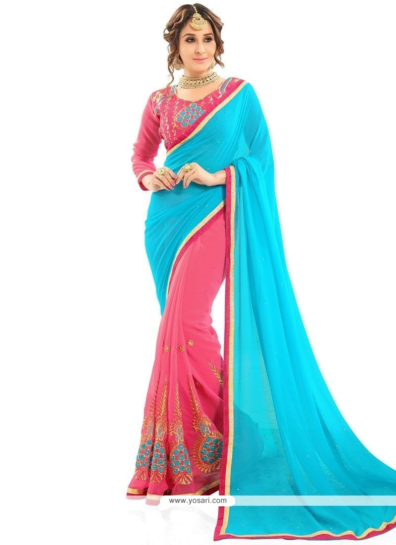Modest Faux Georgette Embroidered Work Designer Half N Half Saree