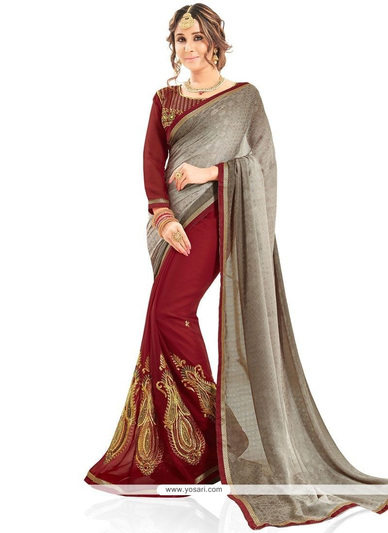 Especial Faux Georgette Embroidered Work Half N Half Designer Saree