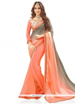 Invigorating Peach Designer Half N Half Saree