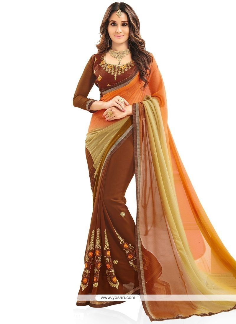 Titillating Multi Colour Shaded Saree