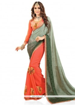 Lively Green And Orange Faux Georgette Half N Half Designer Saree