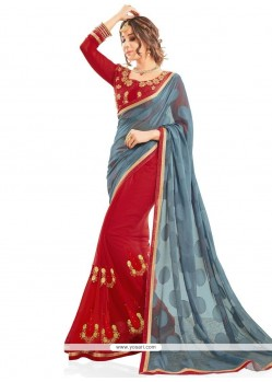 Fabulous Fancy Fabric Grey And Red Patch Border Work Designer Half N Half Saree