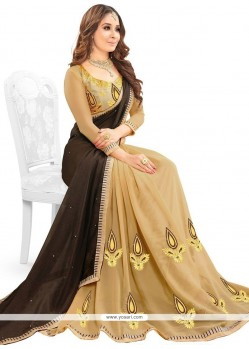 Staggering Faux Georgette Beige And Brown Patch Border Work Half N Half Designer Saree