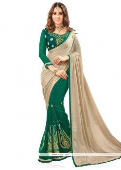 Nice Patch Border Work Beige And Green Faux Georgette Half N Half Saree