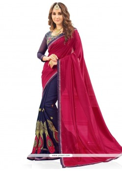 Transcendent Faux Georgette Embroidered Work Designer Half N Half Saree