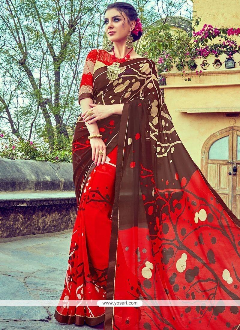 Marvelous Brown And Red Print Work Faux Georgette Printed Saree