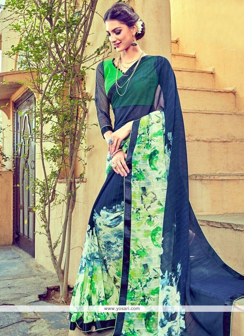Astounding Faux Georgette Multi Colour Printed Saree