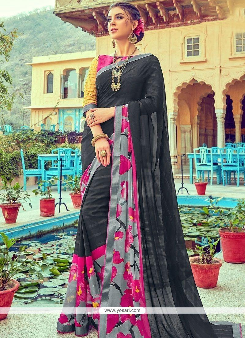 Best Multi Colour Faux Georgette Printed Saree