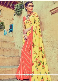 Affectionate Multi Colour Print Work Faux Georgette Printed Saree