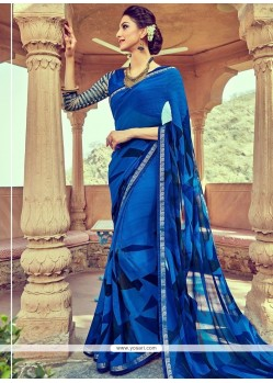 Groovy Faux Georgette Blue Print Work Printed Saree