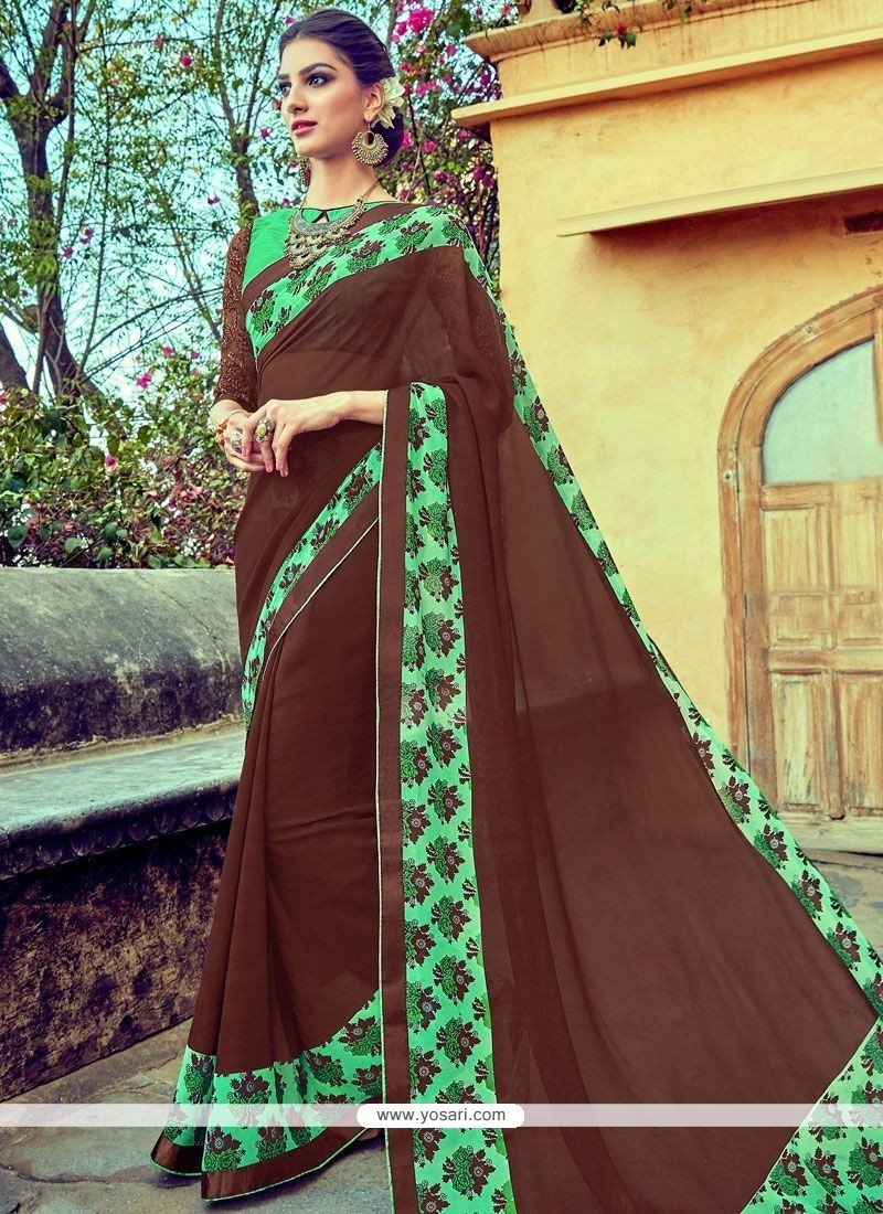 Delightsome Faux Georgette Brown Printed Saree