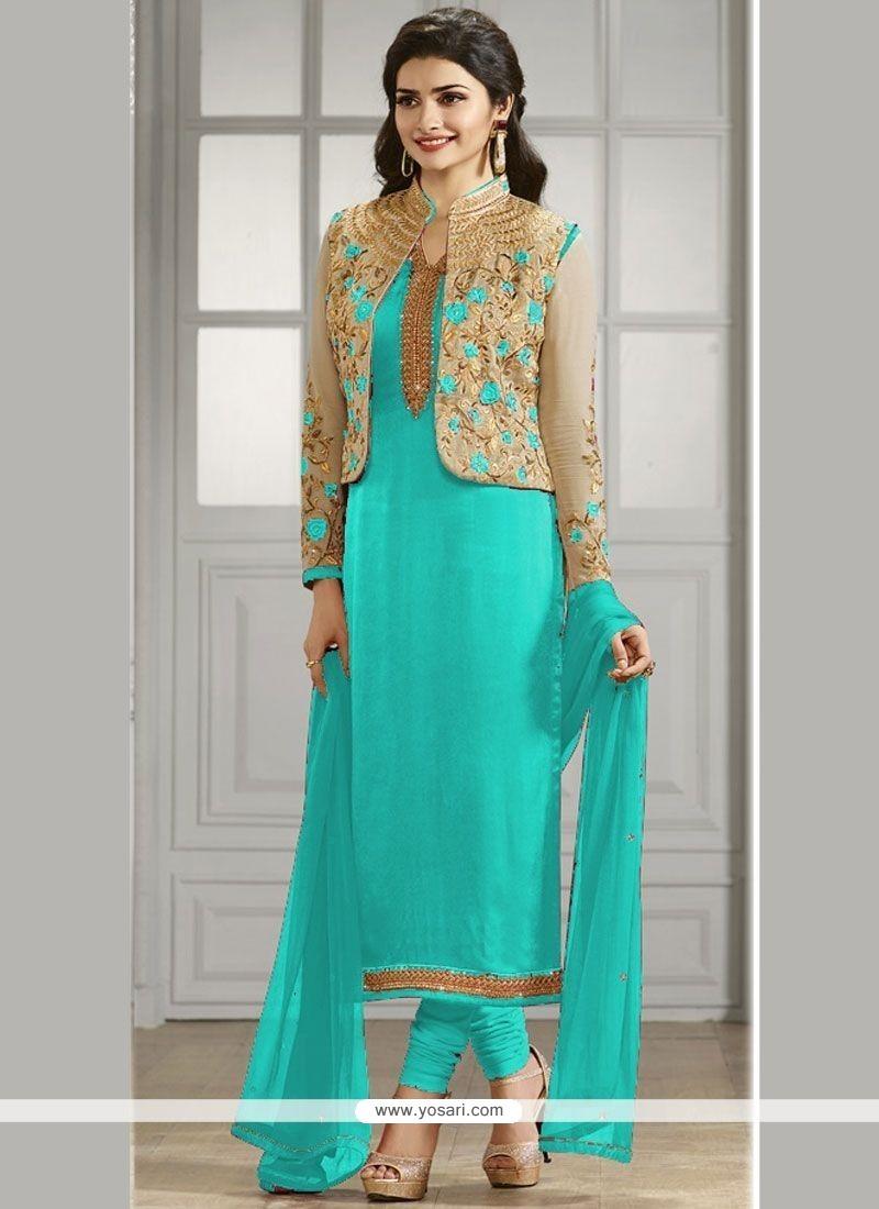 Prachi Desai Faux Georgette Jacket Style Suit