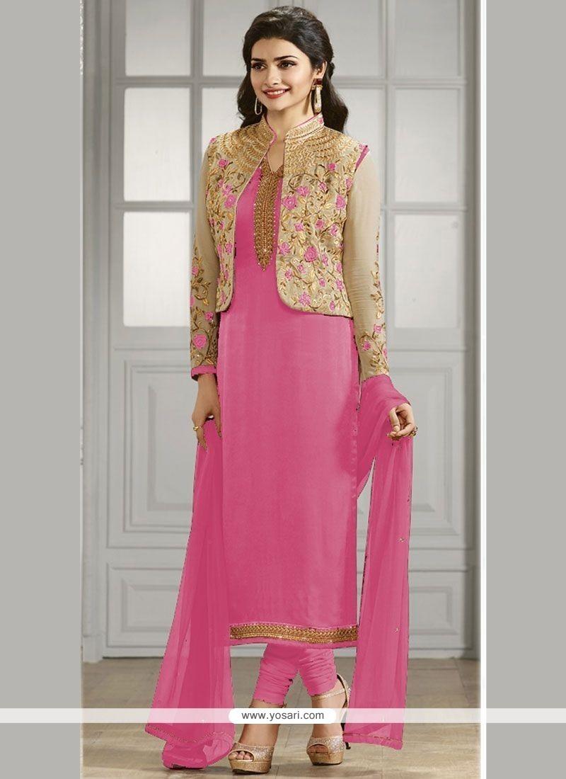 Prachi Desai Embroidered Work Jacket Style Suit