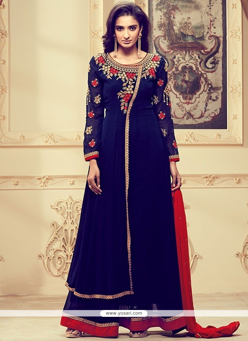 Splendid Faux Georgette Navy Blue And Red Embroidered Work Designer Palazzo Suit