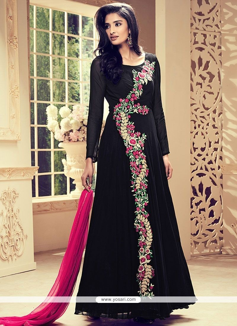 Prodigious Embroidered Work Faux Georgette Black Floor Length Anarkali Suit