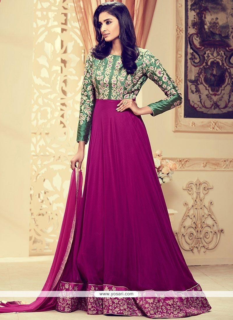 Hypnotic Green And Magenta Embroidered Work Floor Length Anarkali Suit