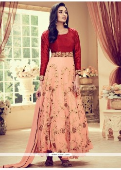 Invigorating Banglori Silk Resham Work Anarkali Suit