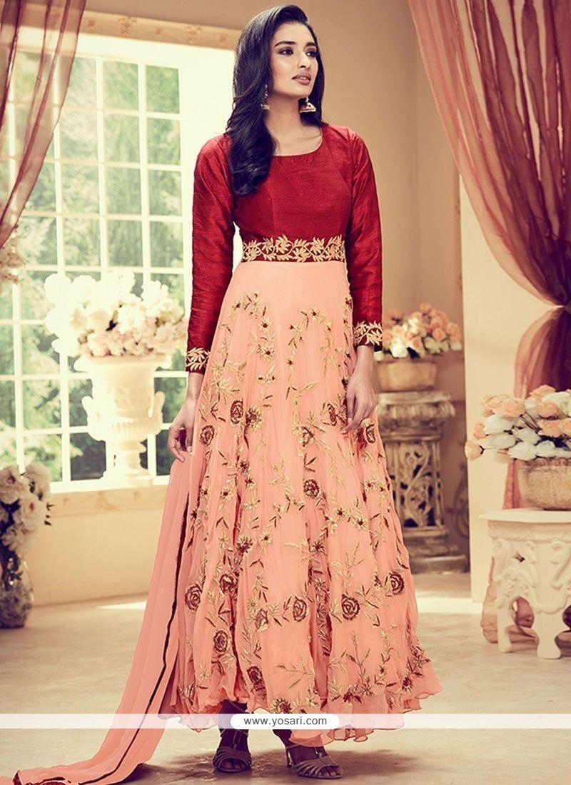 Invigorating Banglori Silk Resham Work Anarkali Suit