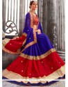 Jazzy Blue And Red Patch Border Work Faux Georgette Classic Designer Saree