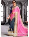 Fabulous Faux Georgette Grey And Pink Designer Half N Half Saree