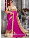 Integral Faux Chiffon Hot Pink Designer Saree
