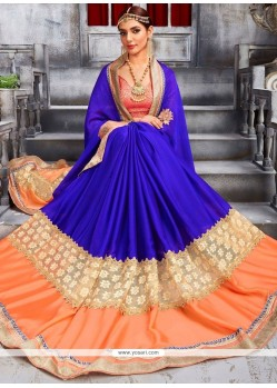 Radiant Patch Border Work Blue And Orange Faux Chiffon Classic Designer Saree