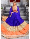 Radiant Patch Border Work Blue And Orange Faux Chiffon Classic Designer Saree