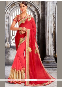 Astonishing Net Pink And Red Embroidered Work Designer Half N Half Saree