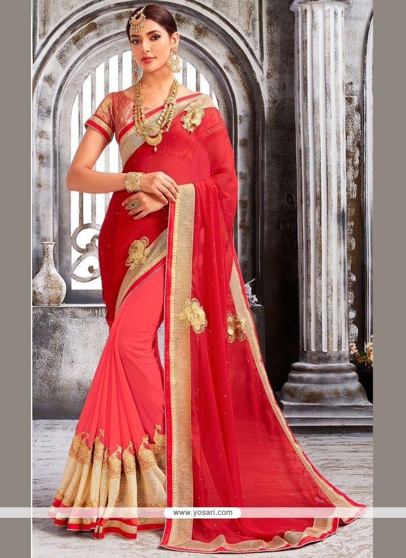 Astonishing Net Pink And Red Embroidered Work Designer Half N Half Saree