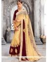 Splendid Faux Georgette Embroidered Work Designer Saree