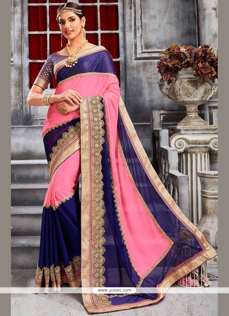 Preferable Lycra Navy Blue And Pink Classic Designer Saree