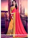 Impressive Art Silk Patch Border Work Half N Half Designer Saree