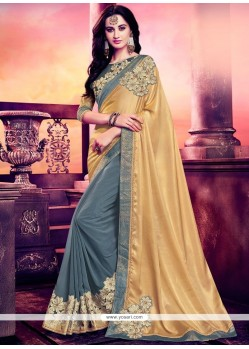 Strange Grey Embroidered Work Classic Designer Saree