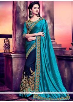 Intricate Patch Border Work Art Silk Half N Half Designer Saree
