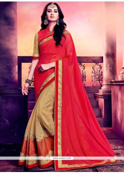 Versatile Jacquard Beige And Red Designer Half N Half Saree