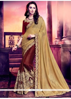 Lovely Faux Georgette Beige And Brown Half N Half Saree