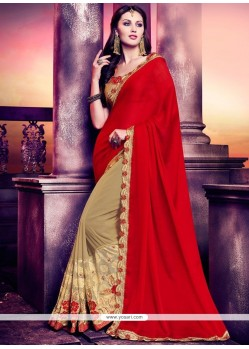 Resplendent Beige And Red Fancy Fabric Half N Half Designer Saree
