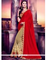 Resplendent Beige And Red Fancy Fabric Half N Half Designer Saree