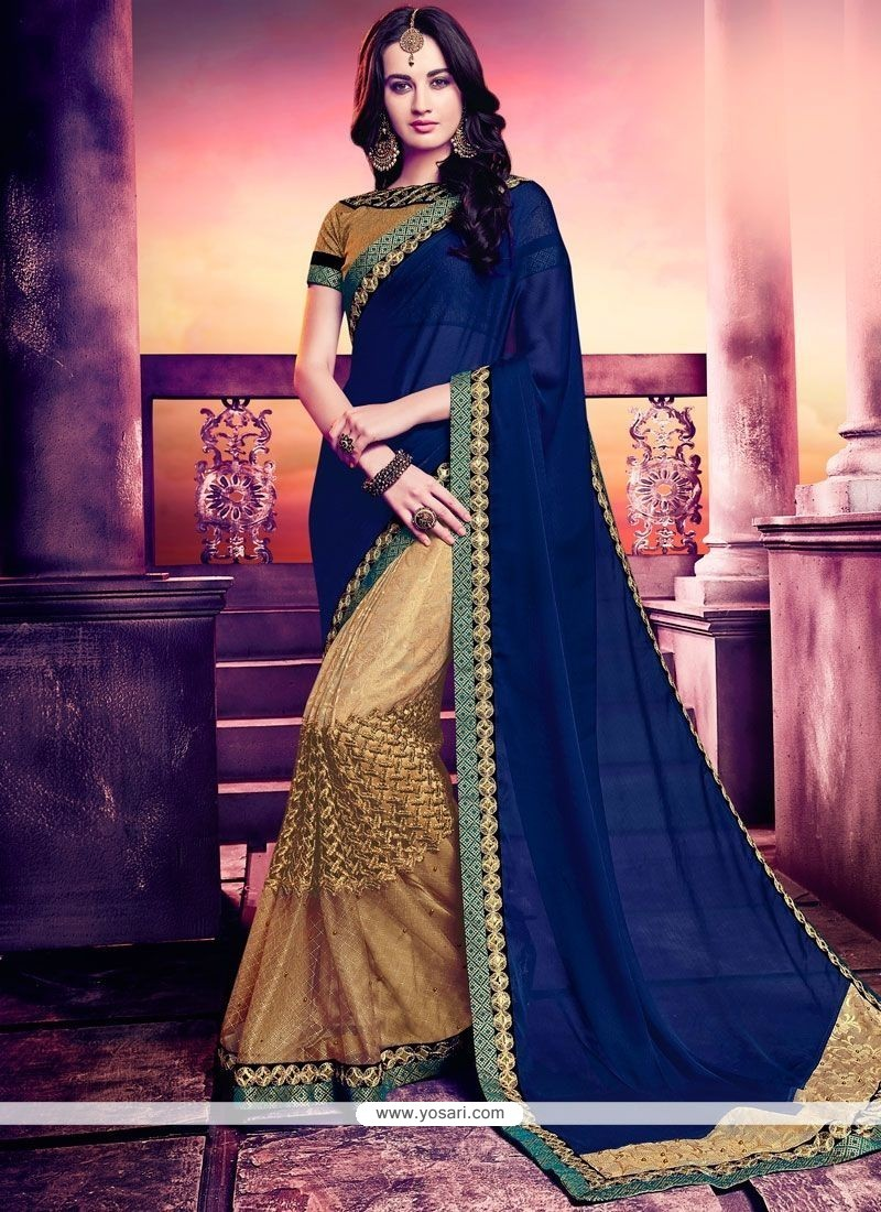 Spectacular Jacquard Designer Half N Half Saree