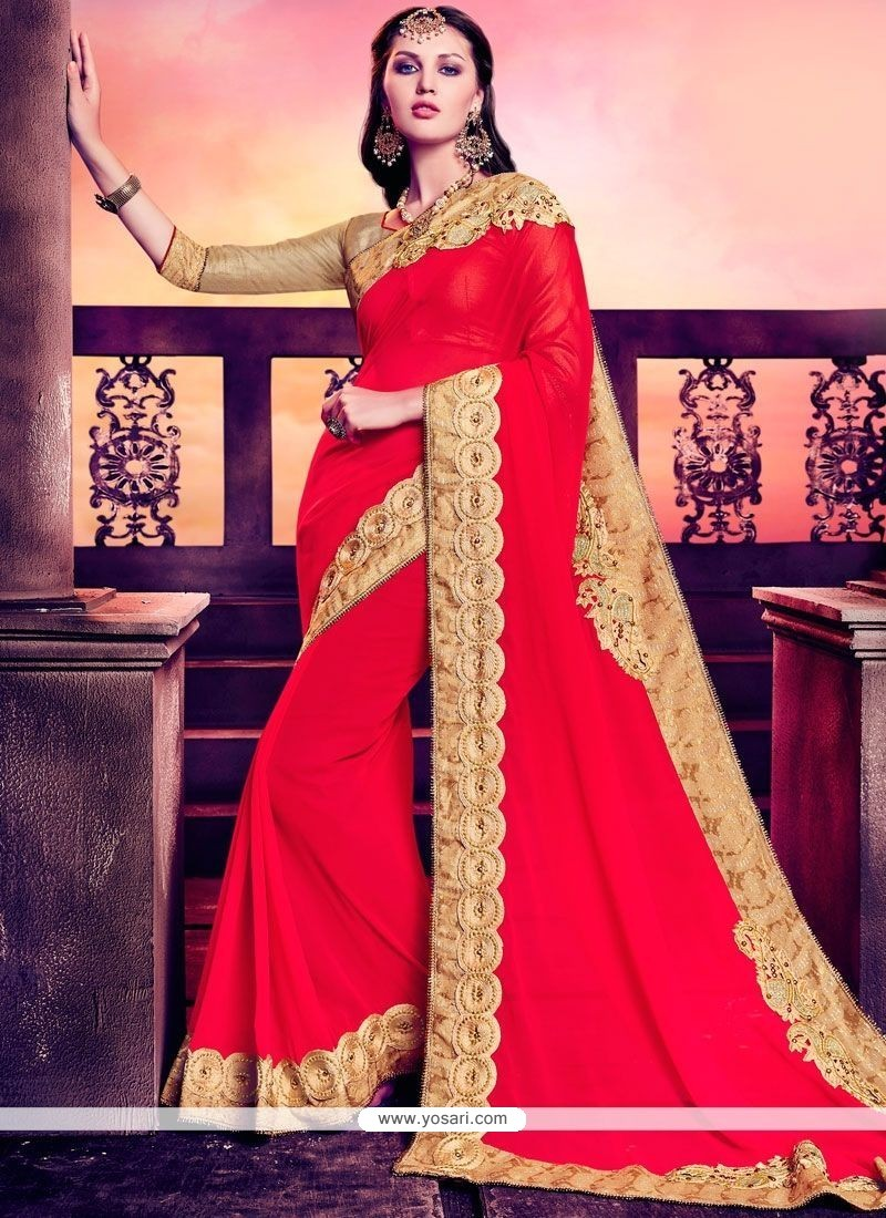Engrossing Patch Border Work Faux Georgette Classic Designer Saree