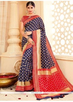 Deserving Blue Tussar Silk Traditional Designer Saree