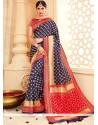 Deserving Blue Tussar Silk Traditional Designer Saree