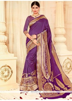 Modish Tussar Silk Purple Traditional Saree