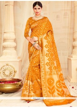 Cute Mustard Weaving Work Designer Traditional Saree