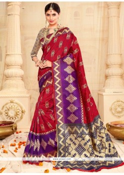 Intricate Weaving Work Tussar Silk Designer Traditional Saree